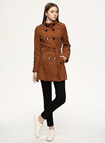 Women's Achicgirl With Coat Double Fashion Belt Woolen Trench Café Breasted ZnnUqAgTd