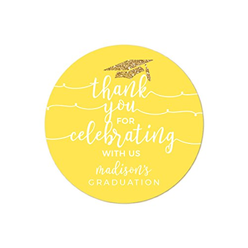 Andaz Press Yellow and Gold Glittering Graduation Party Collection, Personalized Round Circle Label Stickers, Thank You for Celebrating With Us, 40-Pack, Madison's Graduation Custom Name