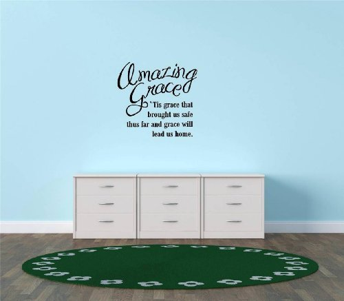 Decal – Vinyl Wall Sticker : amazing grace 'tis grace that brought us safe thus far and grace will lead us home Quote Home Living Room Bedroom Decor - 22 - Grace Kelly Glasses