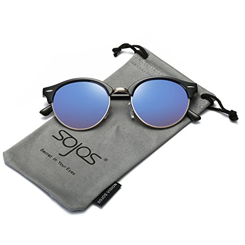 SojoS Classic Clubround Shades Semi-Rimless Unisex Sunglasses with Metal Rivets SJ2031 With Black Frame/Blue Mirrored - Round Best Sunglasses