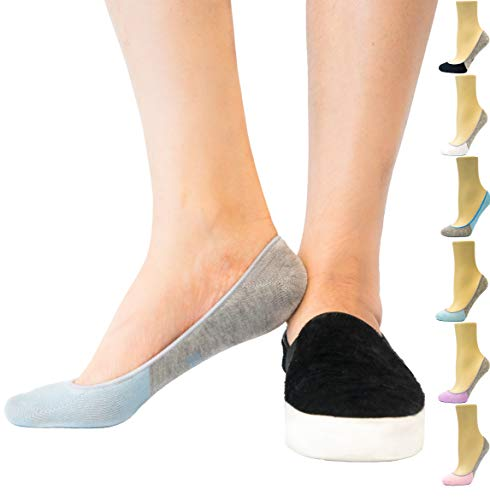 Thirty48 Women's Premium No Show Socks with Non Slip Grip (3 or 6 Pairs) (One Size (6-9), Blue(3 Pairs))