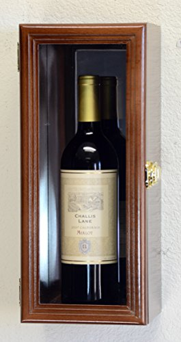 Single Wine Bottle Wall Display Case Cabinet Holder with Mirror Back Holds Bordeux Cabernet Burgundy Pinot Champagne Magnum Bottles (Walnut Finish)