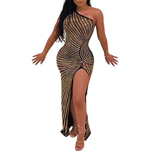 Women's Sexy Bodycon Party Club Night Out Dress (Large, Gold 2)