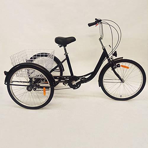Driewieler voor volwassenen, 3 wielen, senioren, fiets, volwassenen, driewieler met mand en koplamp, 24 inch, 3 wielen…