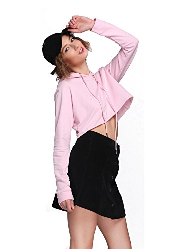 Moxeay Hoodie Sport Crop Top Sweatshirt Jumper Pullover Tops (M, Pink)