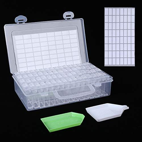 aoory 64 Fächer Diamant Stickerei Sortierbox in Stabiler Aufbewahrungbox Werkzeugbehälter