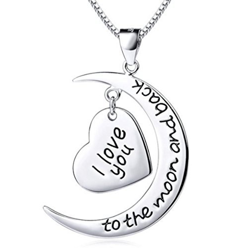 Truly Charming 925 Sterling Silver I Love You To The Moon And Back 2 Piece Pendant Necklace 18'' Chain Gift Boxed by Truly Charming