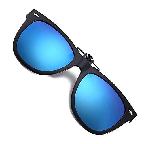 Clip-on Sunglasses Over Prescription Glasses Anti Glare Polarized Flip Up Clip On Driving Sun Glasses for Men Women (2150/Black Frame/Blue Lens)