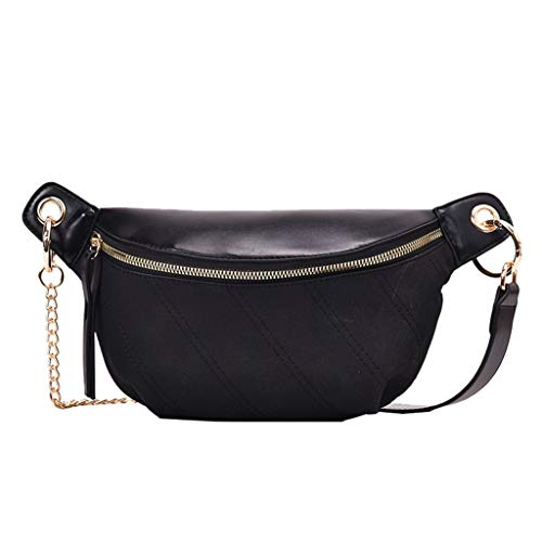 Women Fashion Shoulder Chest Bag,Crytech Trendy Solid Pu Leather Large Capacity Crossbody Sling Backpack Casual Sport Zipper Pocket Messenger Bag Outdoor Waist Bum Pack for Ladies (Black)
