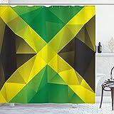 Ambesonne Jamaican Shower Curtain, Triangular Polygon Design Abstract Flag Geometric National, Cloth Fabric Bathroom Decor Set with Hooks, 75' Long, Yellow Green