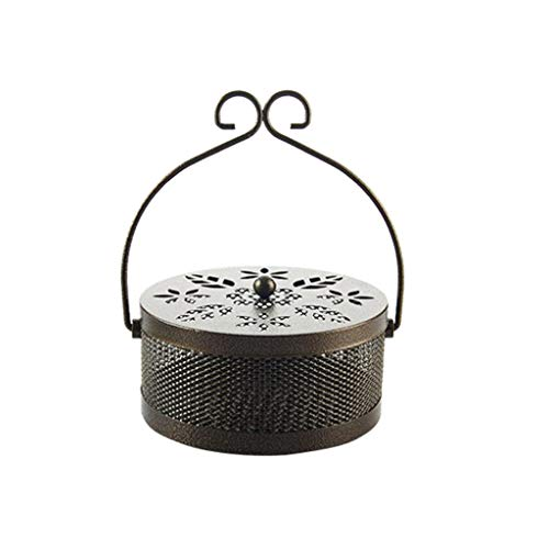 Tpingfe Summer Wrought Iron Fireproof Mosquito Coil Mosquito Coil, Mosquito Coil Holder with Cover Retro Petal Iron Art Tray Portable Mosquito Incense Burner Box Decor for Home Garden Camp -
