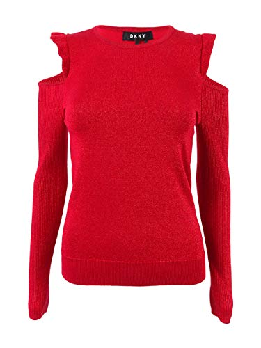- DKNY Womens Cold Shoulder Metallic Pullover Sweater Red M