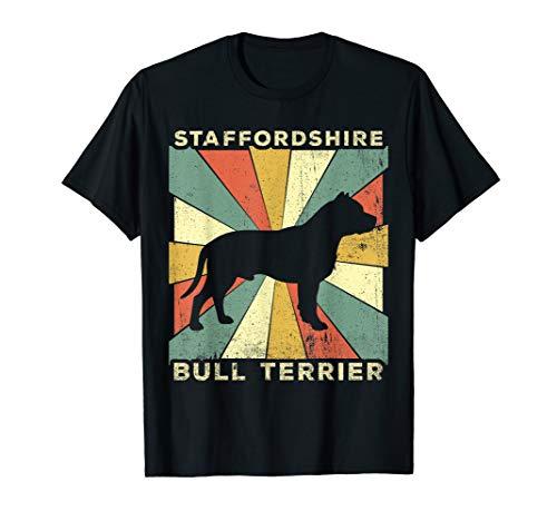 (Staffordshire Bull Terrier Dog Retro 70s Vintage T-Shirt)