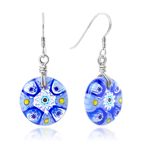 - 925 Sterling Silver Millefiori Murano Glass of Venice Blue Shade Round Dangle Earrings 1.45