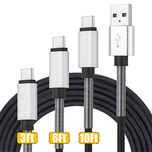 USB C Cable, (3ft2, 6ft2, 10ft2) USB A to USB-C Fast Charger Nylon Braided Charging Cord Compatible with Samsung Galaxy Note 9 S9 S8 Plus Note 8, LG V30 G6 G5, Pixel, Google Pixel