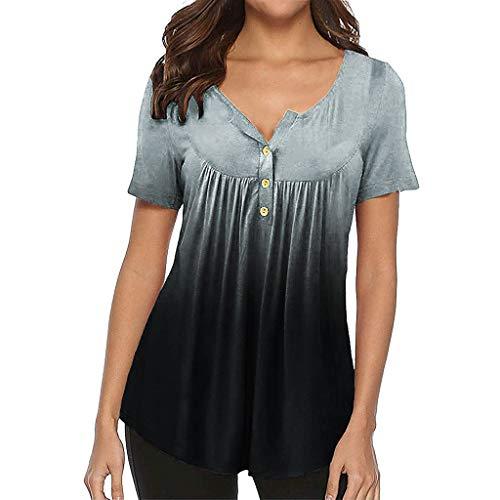 - Women Tops, Caopixx Summer Gradient Row Pleats Button Down Ruched Short Sleeve Irregular T-Shirt Blouse Gray