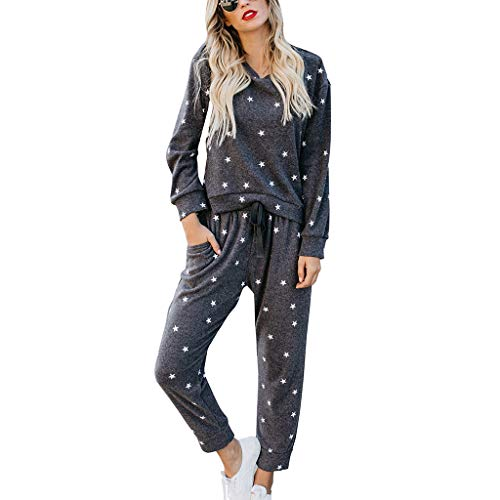 Willow S Women Fashion Comfy Stars Tracksuit Sweatshirt Pants Sets Sport Long Sleeve Casual Suit Blouse Black
