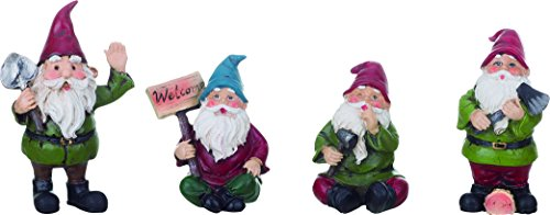 Set of 4 Playful Garden Gnomes 3 Inch Resin Decorative Miniature Figurines by Transpac Imports, Inc.