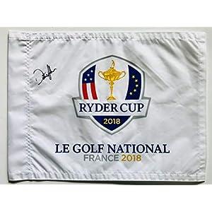 Dustin Johnson 2018 ryder cup signed golf flag team usa pga autographed new