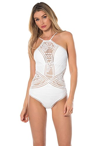 - Becca by Rebecca Virtue Women's One Piece High Neck Swimsuit White L