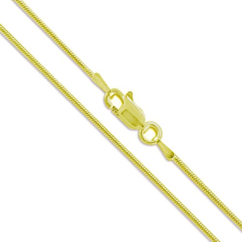 - 22k Yellow Gold Plated Sterling Silver Magic Snake Chain 1mm Solid 925 Italy New Necklace 16