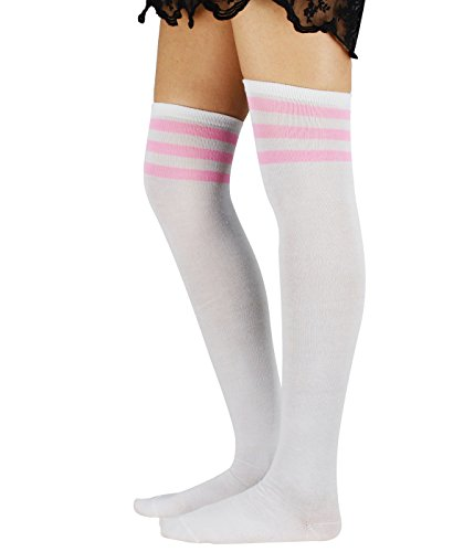 Zando Womens Athlete Thin Stripes Thigh High Over Knee Socks Cosplay Stockings G 1 Pair White Pink (Slutty Sailor)