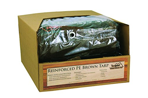 10' Polyethylene Plastic Bags - Texsport Heavy-Duty Reinforced Multi-Purpose Waterproof Brown Tarp