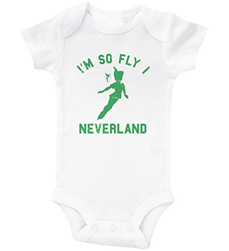 Baffle Peter Pan Inspired Baby Onesie/Neverland / Funny Unisex Infant Outfit (18M, White SS) ()