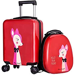 Kids Luggage, Hard Shell Travel Carry on Suitcase & Backpack Set, Girls, Child