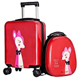 Kids Hard Shell Luggage Backpack Set, Toddler Carry On Suitcase for Girls Travel