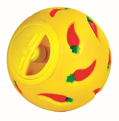 Wheeky Treat Ball Toy for Guinea Pigs, Rabbits, Hedgehogs and Other Small Pets, 7 cm, Yellow, Adjustable Opening Treat Toy New]()