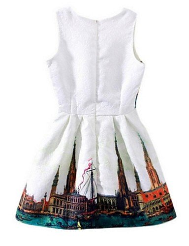PU&PU Robe Aux femmes Gaine Street Chic,Imprimé Col Arrondi Au dessus du genou Polyester , white-l , white-l