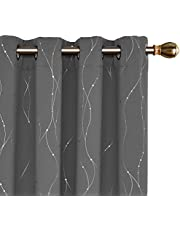 Deconovo Thermal Insulated Dotted Printed Eyelet Blackout Curtains Pair