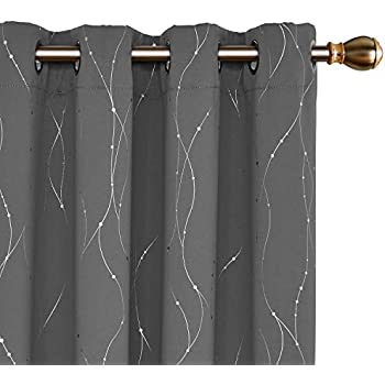 Deconovo Blackout Curtains Grommets with Dots Pattern Thermal Insulated Drapes Light Blocking Curtains for Bedroom and Sliding Glass Door 52 x 84 Inch Grey 2 Panels