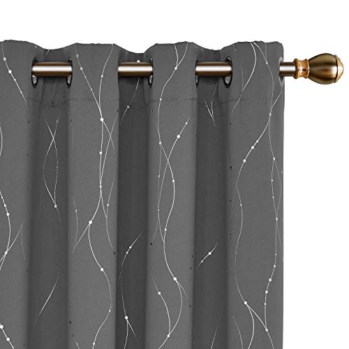 Deconovo Blackout Curtains Grommets with Dots Pattern Thermal Insulated Drapes Light Blocking Curtains for Bedroom and Sliding Glass Door 52 x 84 Inch Grey 2 - Blackout Room Curtain