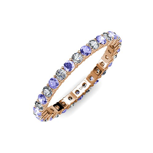 Tanzanite & Diamond 2.4mm Shared Prong Eternity Band 1.20 ct tw to 1.40 ct tw in 14K Rose Gold.size 6.0 (Band Eternity Prong Shared Diamond)