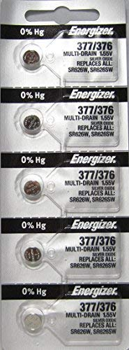 376 Energizer Watch Batteries - 377 Energizer 1.55 Vcc Silver Oxide Watch Battery (Value Pack of 5)