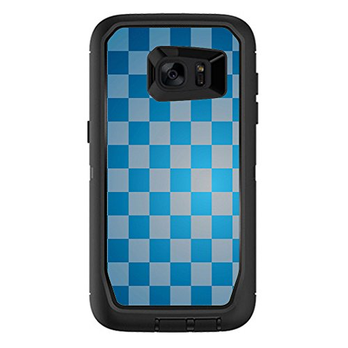 Skin Decal Vinyl Wrap for Otterbox Defender Samsung Galaxy S7 Edge Case stickers skins cover/ Blue Grey Checkers