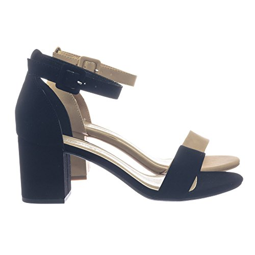 DbDk Retro Comfortable Chunky Block Heel Dress Sandal w Ankle Strap Black Nubuck Bfj0pl7n6I