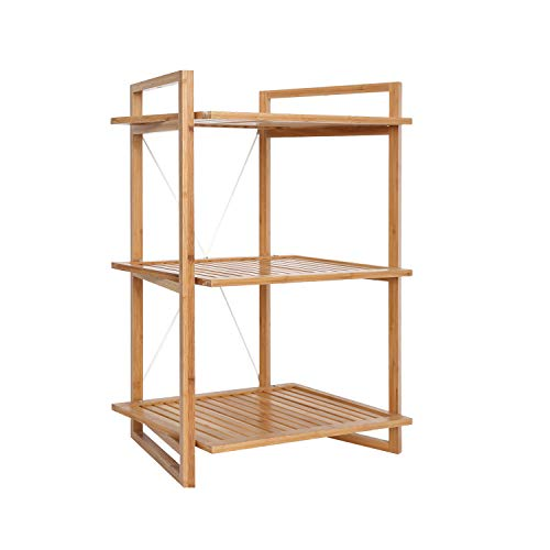 (BAMFOX Bamboo Bookcase with 3 Tiers,Also Available for Console Table,Wall Table,Luggage Rack, Shoe Rack,Bathroom Storage Rack, Flower Rack of 26