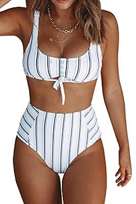 CUPSHE Women's Navy White Vertical Stripe Print High Waist Bikini Set