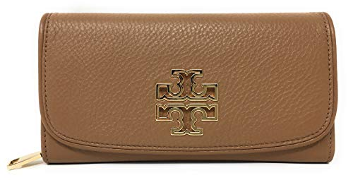 - Tory Burch Britten Duo Envelope Continental Leather Wallet (Bark Brown)