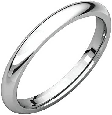 Platinum 2.5mm Comfort Fit Band , Ring Size 4