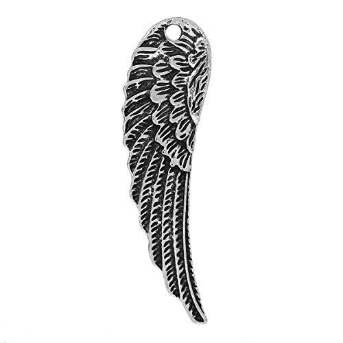 Angel Wings Pendant Charms, 10 Pc LARGE Silver Tone 2 Inch (0.5 Inch Wing)