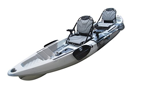 BKC UH-TK122 Coastal Cruiser 12.9-Foot Tandem 2-3 Person Sit On Top Fishing Kayak - Up-Right Seats and Paddles Included (GreyCamo)
