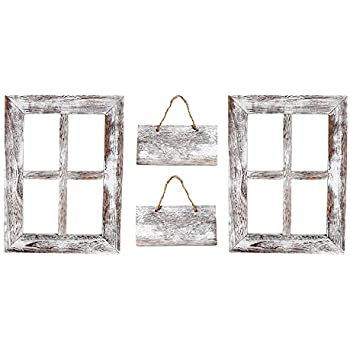 Kenley Rustic Window Frames - Wall Mount Wooden Frame Set with Signs - Farmhouse Wall Decor - Vintage Hand Crafted Wood Pane 11x15 Inches - Primitive Country Decorations