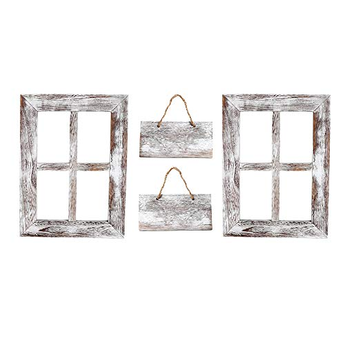 Kenley Rustic Window Frames - Wall Mount Wooden Frame Set with Signs - Farmhouse Wall Decor - Vintage Hand Crafted Wood Pane 11x15 Inches - Primitive Country Decorations (Wood Window Frame)