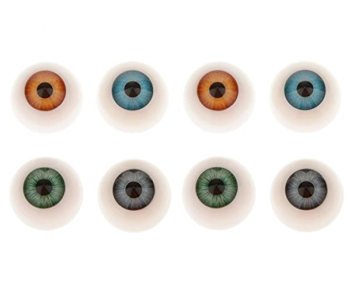 4Pairs Diameter 26mm/1inch 4 Colors Arcylic Round Hollow Doll Making Flat Back Eyes Eyeballs for DIY Crafting Supplies Puppet Teddy Bear Doll Animal Stuffed SD Toys from UPSTORE