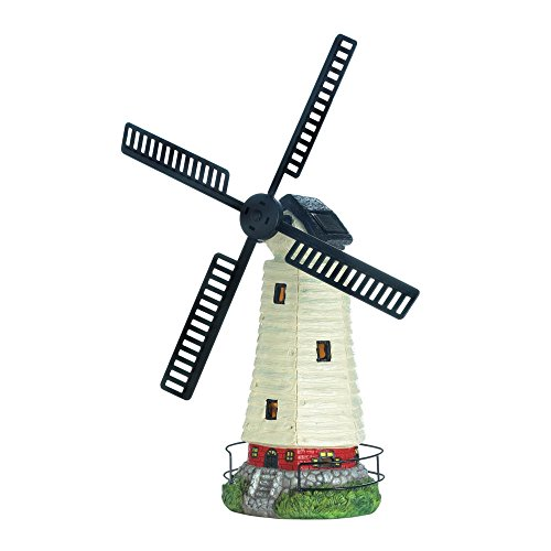 - Zings & Thingz 57074114 Solar-Powered Light-Up Windmill Lighthouse Garden Statue, Multi Color