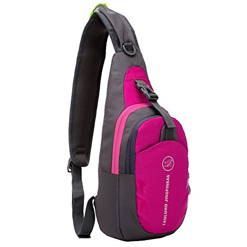 Peicees Waterproof Lightweight Sling Durable Casual Travel One Shoulder Backpack Chest Bag for Men and Women,Teen Boys and Girls School (Rose Red)